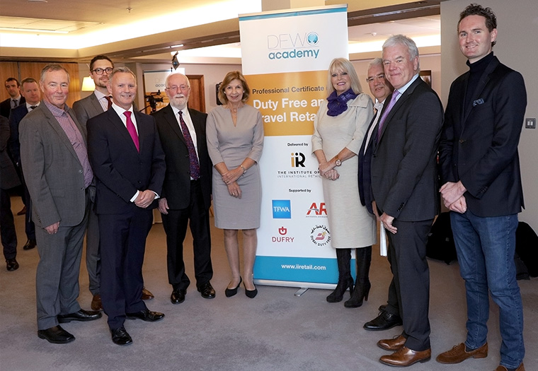 Irish based companies that were involved in development of the Academy, from the right: James Dillon - Dillion productions, Kevin Rase -  Contineo labs, Frank and Sarah DFWC, Minister for Higher Education Mary Mitchel O'Connor. Vincent Harrision - daa, Derek Hughes IIR, John King - Distilla